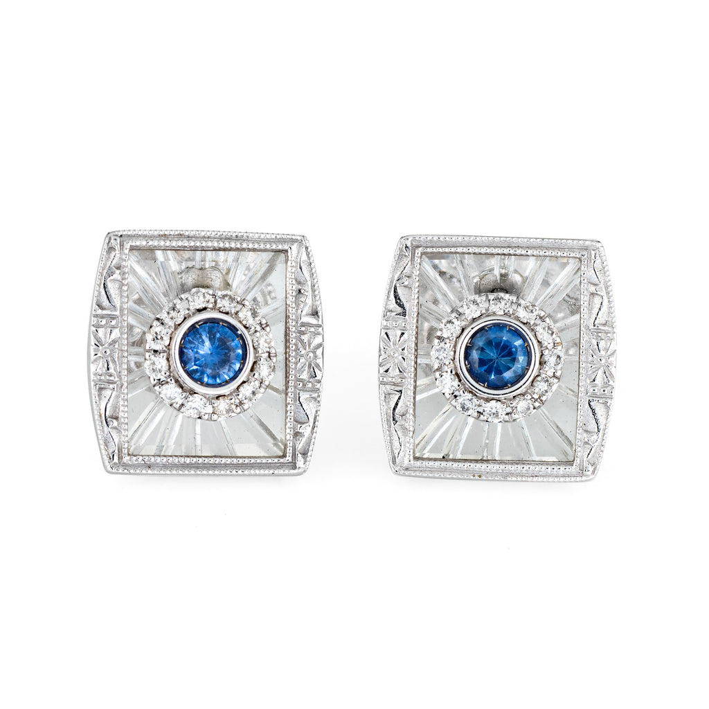 Estate Diamond Sapphire Rock Crystal Square Stud Earrings 14k White Gold Jewelry