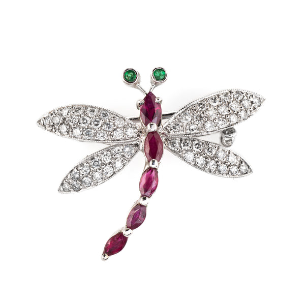 Dragonfly Gemstone Brooch Estate 18k White Gold Diamond Ruby Emerald Jewelry