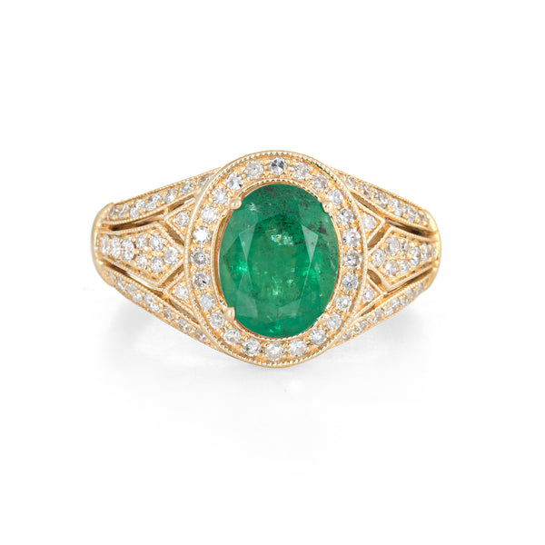 Estate Effy Emerald Diamond Ring 14k Yellow Gold Fine Gemstone Jewelry Sz 6