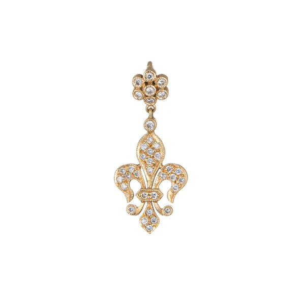 Fleur de Lis Diamond Pendant Charm Estate 18k Yellow Gold Vintage Fine Jewelry