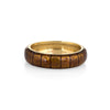 Estate Hidalgo 5mm Band 18k Yellow Gold Sz 5 1/2 Bronze Ring Brown Enamel 5.5