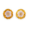 Trianon Amber Flower Earrings Estate Chalcedony Citrine 18k Gold Jewelry Clip On