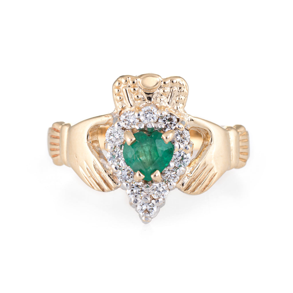 Vintage Irish Claddagh Ring Emerald Diamond 14k Gold Love Jewelry Estate 9.5