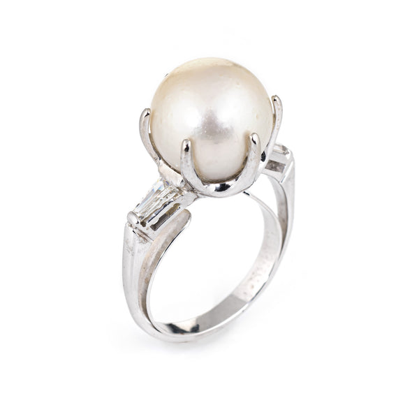 12.5mm Cultured South Sea Pearl Diamond Ring Vintage 14k White Gold Jewelry