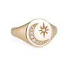 Crescent Moon Star Diamond Signet Ring Estate 14k Yellow Gold Sz 6.5 Jewelry