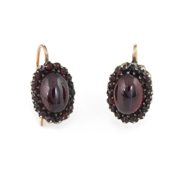 Antique Victorian Garnet Earrings 10k Rose Gold Oval Drops Vintage Fine Jewelry
