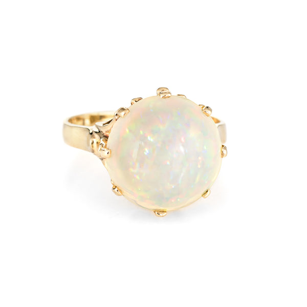 6ct Natural Pinfire Opal Ring 14k Yellow Gold Cocktail Jewelry Sz 7 1/4 Estate