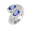 Tanzanite Diamond Bypass Ring 18k White Gold Pave Set Sz 5 Vintage Fine Jewelry