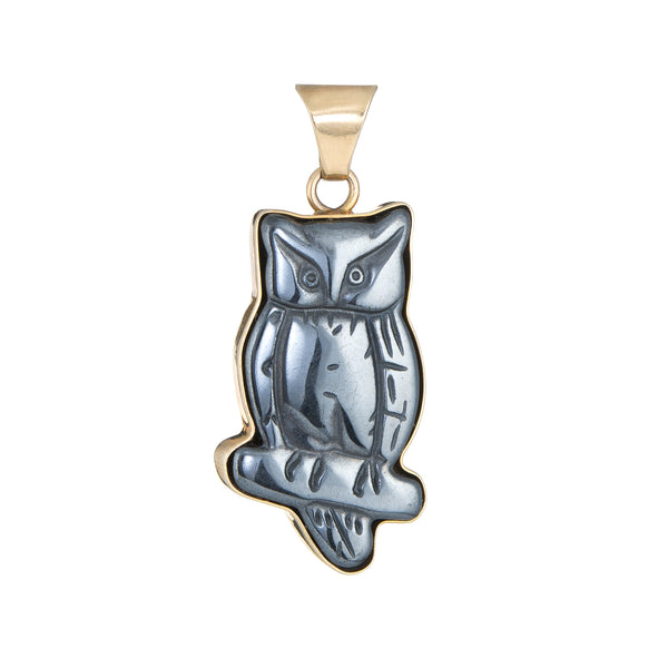 Carved Owl Pendant Hematite Vintage 14k Yellow Gold Estate Fine Jewelry Bird