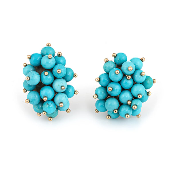 Vintage Turquoise Cluster Earrings 14k Yellow Gold Clip On Estate Fine Jewelry
