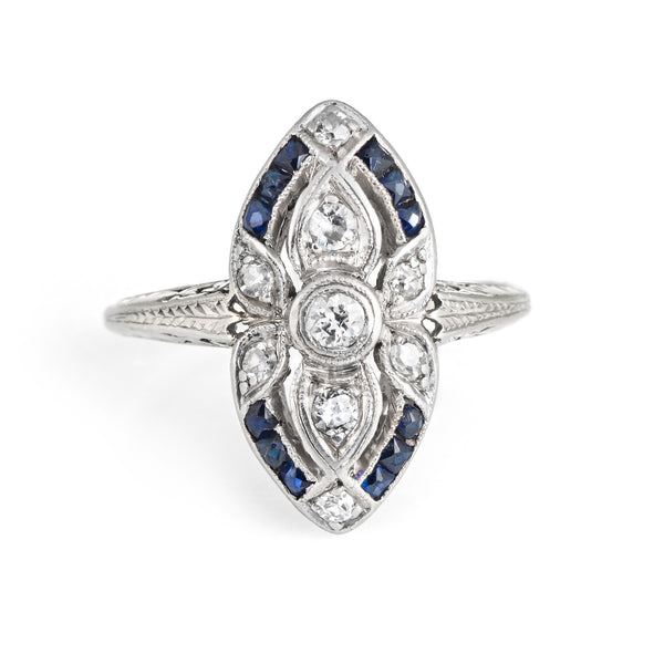 Antique Deco Diamond Sapphire Ring 18k Gold Platinum Shield Cocktail Ring 7.75