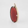 Antique Deco Pendant Carnelian Diamond Black Enamel 14k Yellow Gold Large Oval