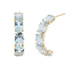 Blue Topaz Half Hoop Earrings 14k Yellow Gold Estate Fine Jewelry Pre Owned 3/4