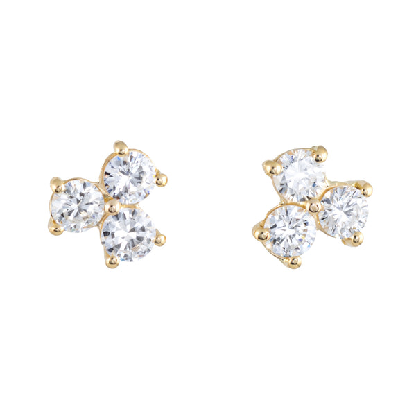 3 Stone Diamond Stud Earrings Estate 18k Yellow Gold Vintage Fine Jewelry