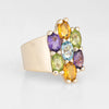 Rainbow Gemstone Ring Estate 14k Yellow Gold Semi Precious Peridot Amethyst