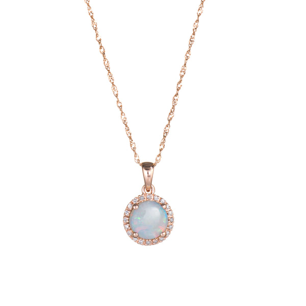 Opal Diamond Halo Necklace Estate 14k Rose Gold Fine Jewelry 18