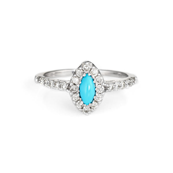 Turquoise Diamond Ring Vintage 14k White Gold Marquise Cocktail Jewelry Sz 6.75