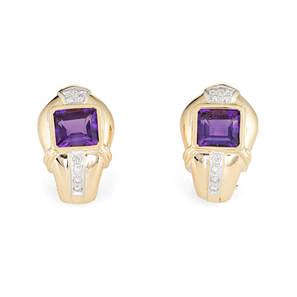 Amethyst Diamond Earrings Vintage 18k Gold Clip On Estate Fine Jewelry Shrimp