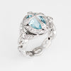 Aquamarine Diamond Cross Ring Platinum Sz 6.5 Estate Fine Jewelry Religious
