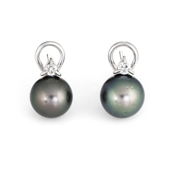 11mm Tahitian Black Cultured Pearl Diamond Earrings Estate 14k White Gold Studs