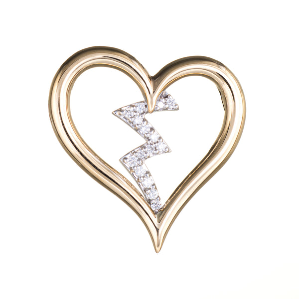 Diamond Heartbeat Pendant Estate 14k Yellow Gold Heart Jewelry Vintage 1