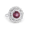 Pink Tourmaline Diamond Ring Vintage Cocktail 18k White Gold Princess Jewelry 9