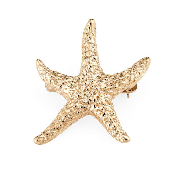 Starfish Brooch Pin Vintage 14k Yellow Gold Textured Estate Fine Marine Jewelry