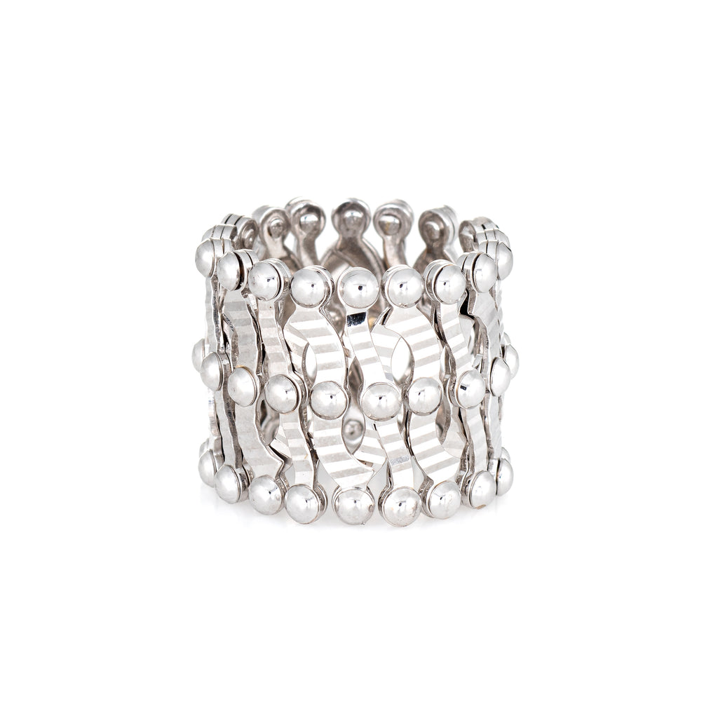 Expandable Ring to Bracelet 14k White Gold Estate Jewelry Flexible Convertible