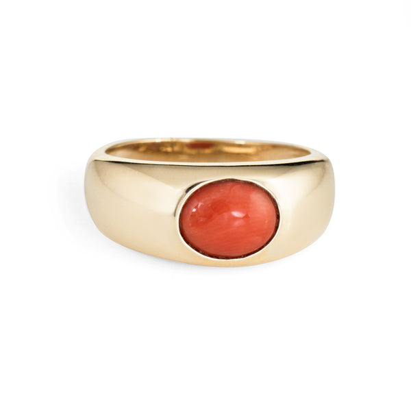 Vintage Coral Signet Ring 14k Yellow Gold Estate Band Jewelry Orange Sz 8.75