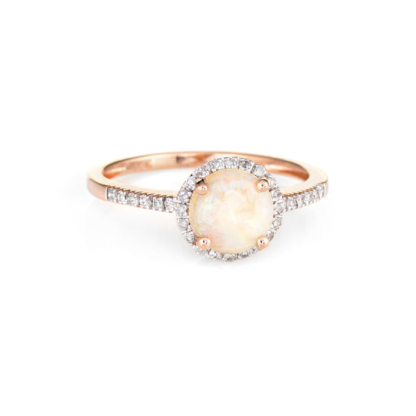 Opal Diamond Halo Ring Estate 14k Rose Gold Sz 7 Fine Jewelry Engagement