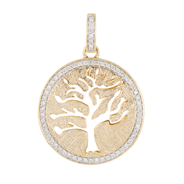 Vintage Tree of Life Diamond Pendant 14k Yellow Gold Round Estate Fine Jewelry