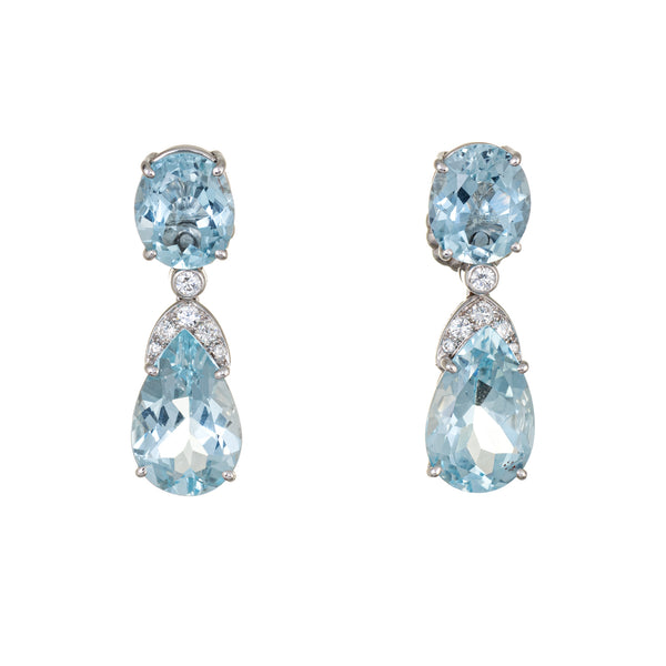 Suarez Aquamarine Diamond Drop Earrings Estate 18k White Gold Fine Jewelry