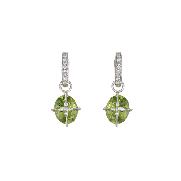 Interchangeable Earrings Peridot Diamond 18k White Gold Estate Fine Jewelry Hoop