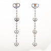 Peace & Love Diamond Earrings Estate 18k White Gold Heart Sweeper Long 3.5