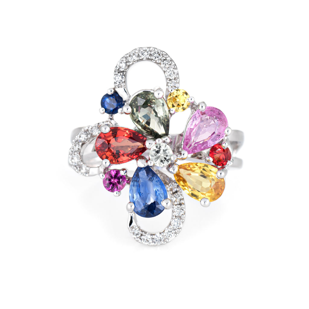 Colored Sapphire Ring Diamond Flower Cocktail Jewelry 18k Gold Estate Cluster