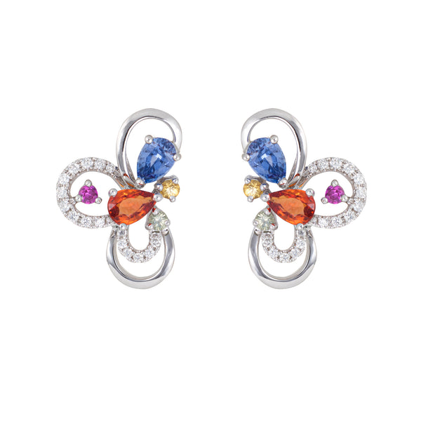 Colored Sapphire Earrings Estate 18k White Gold Diamond Flower Cluster Studs