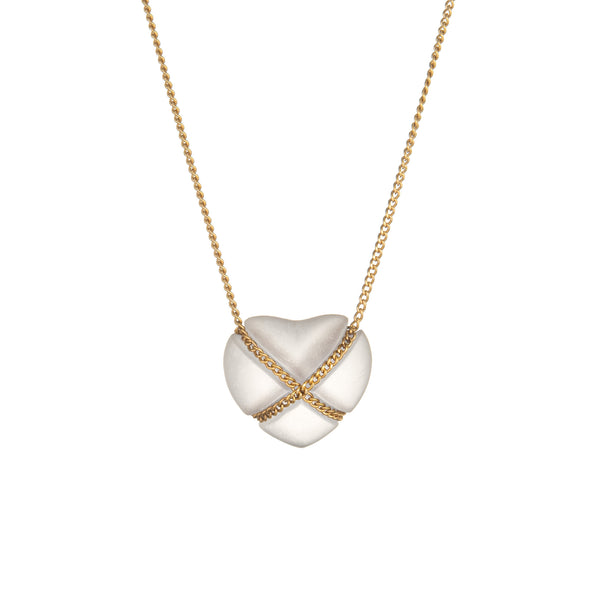 Vintage Tiffany & Co Rock Crystal Cross My Heart Necklace 18k Yellow Gold Quartz