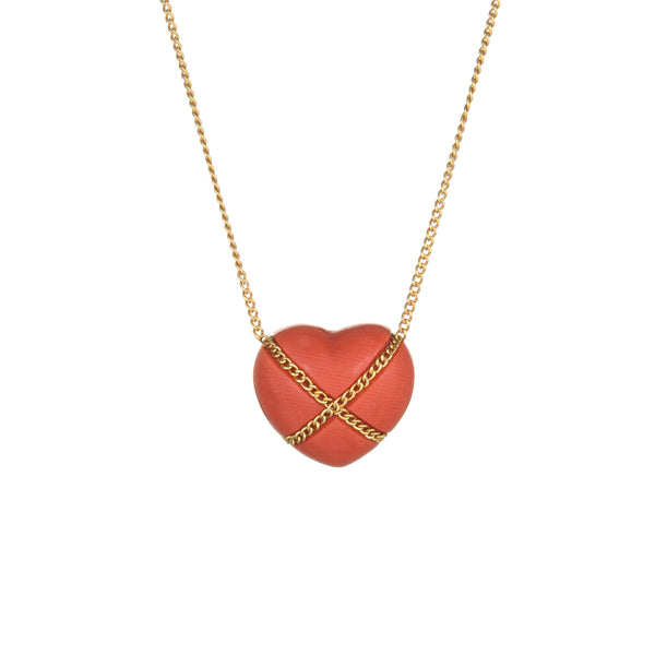 Vintage Tiffany & Co Coral Cross My Heart Necklace 18k Yellow Gold Crossover