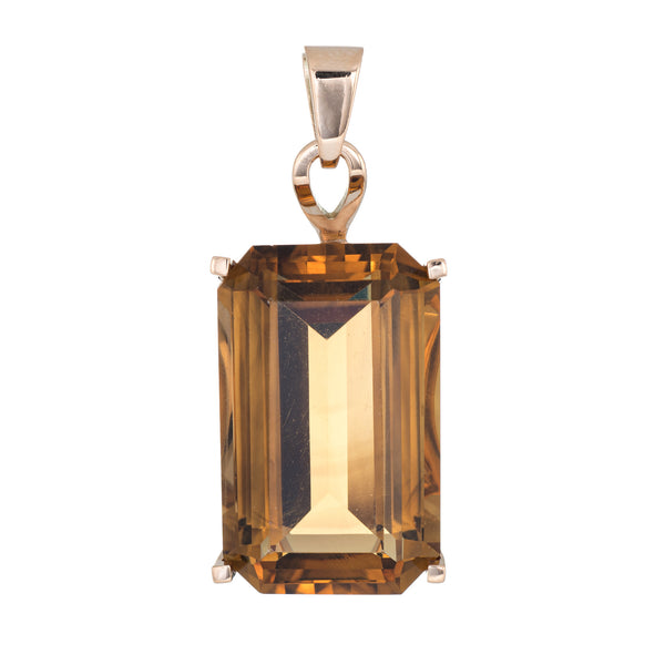 Huge 44ct Citrine Pendant Vintage 14k Yellow Gold Emerald Cut Estate Jewelry
