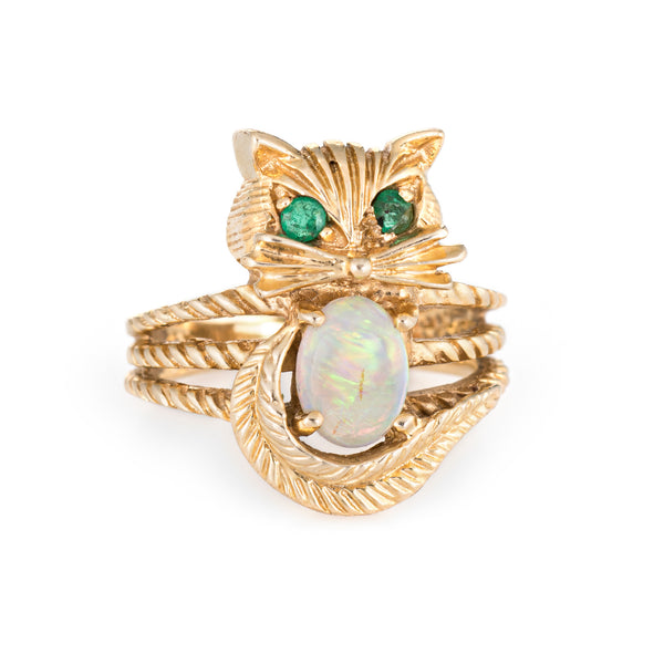 Kitty Cat Ring Opal Emerald Vintage 14k Yellow Gold Fine Animal Jewelry Sz 4