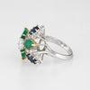 Gemstone Cluster Ring Emerald Sapphire Diamond Vintage 18k Gold Cocktail Sz 6.5