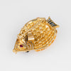 Tropical Fish Pendant Sapphire Diamond Ruby Brooch Estate 18k Exotic Sealife