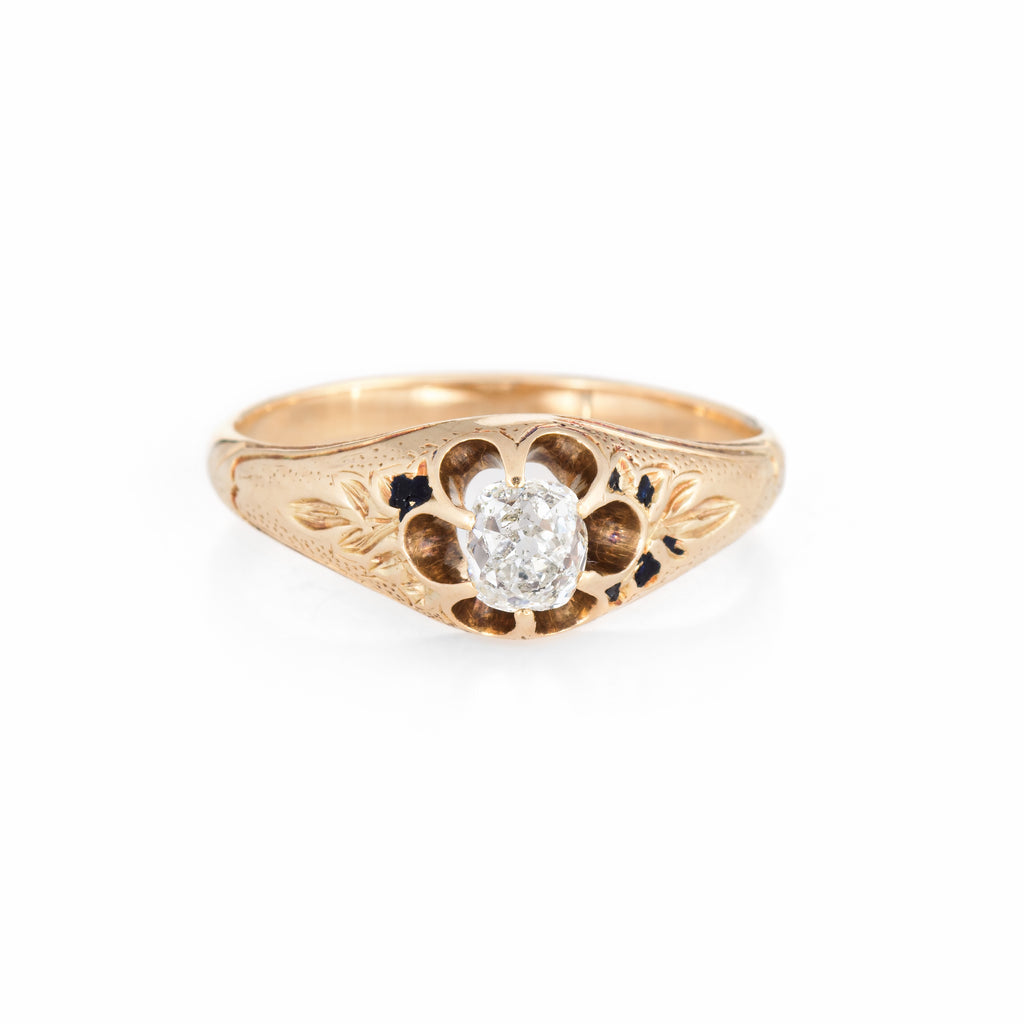 Antique Victorian 0.55ct Cushion Diamond Ring 18k Yellow Gold Engagement 6.75