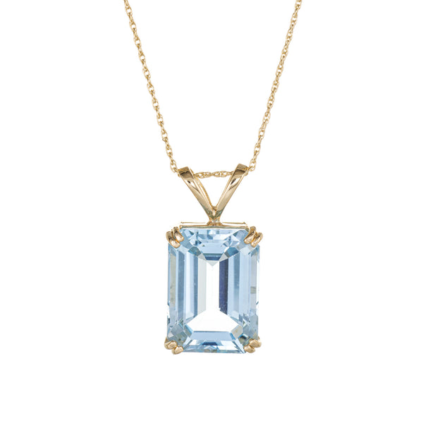 Large 21ct Blue Topaz Pendant Necklace 14k Yellow Gold Emerald Cut Jewelry