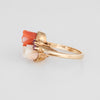 Coral Ruby Flower Ring Vintage 14k Yellow Gold Estate Fine Jewelry Sz 6.5