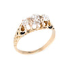Antique Victorian 3 Three Stone Diamond Ring Old Mine Vintage 14k Gold Trilogy