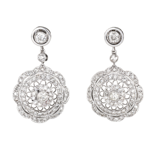 1.40ct Diamond Filigree Drop Earrings Vintage 18k White Gold Estate Jewelry