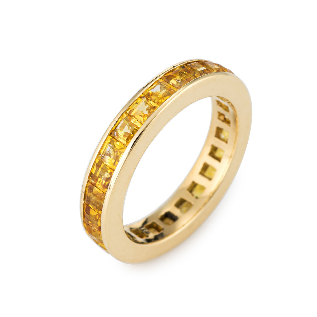 2.40ct Yellow Sapphire Eternity Ring 5 Estate Square Emerald Cut Stack Band