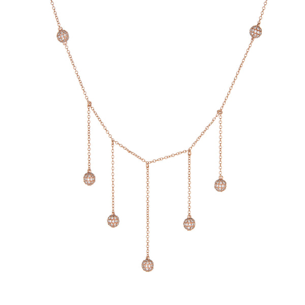 1.20ct Diamond Necklace 14k Rose Gold Fringe Drop Pave Orbs Round Short 14