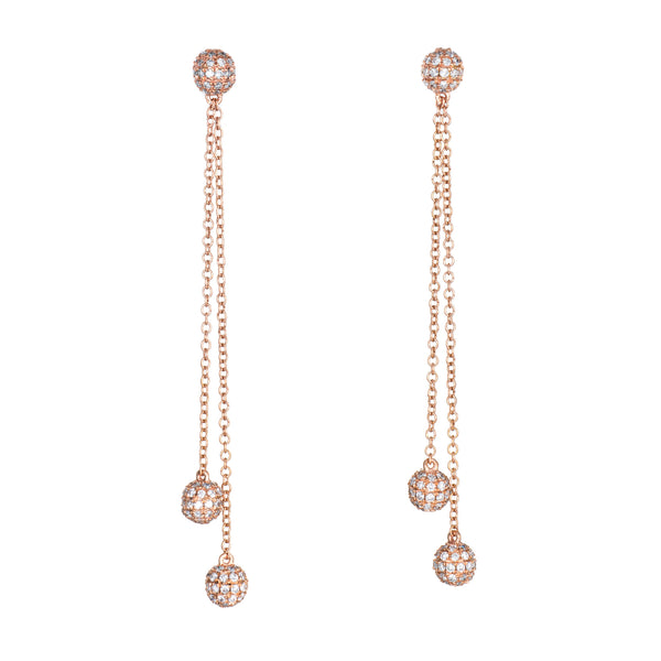 0.80ct Diamond Orb Earrings 14k Rose Gold Long 2.25